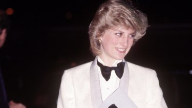 """In Margaret Howell at a Genesis concert, 1984. """"I chose this because it was just fun. I saw it and thought, 'Wouldn't she look wonderful in that.' The bow tie was her own. """"When I saw it, I thought, 'She's taken it all the way.' """""""