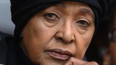 Winnie Madikizela-Mandela at the memorial service for Nelson Mandela in 2013.