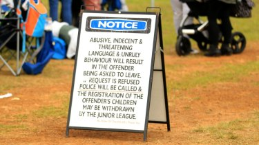 A warning for parents and fans watching the game at Chad Towns Reserve, Glenmore Park.