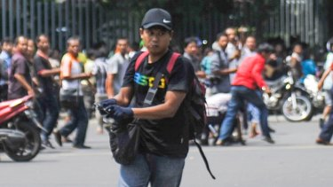 One of the suspected terrorists during the fatal attack in Jakarta in January 2016.