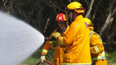 CFA volunteers at a training exercise.