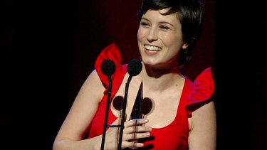 Missy Higgins accepting the award for best pop album at the 2005 Aria Awards in Sydney.