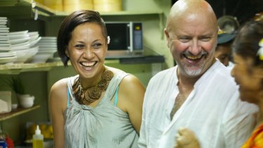 Robert Oliver with Dora Rossi at Paddles restaurant in Apia.
