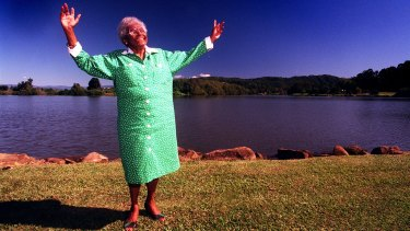 Larger than life: Aboriginal human rights activist Faith Bandler on the banks of the Tweed, near the town of Tumbulgum where she grew up.