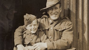 Ted Tovell, of Australian Flying Corps 4 Squadron,  (right) with French World War I  orphan Henri Hemene, or Digger, who Ted helped brother Tim Tovell smuggle back to Australia. Pictured at Hurdcott camp in England, in 1919.