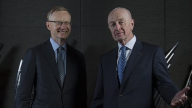 Current and former RBA governors Philip Lowe and Glenn Stevens pictured in 2016.