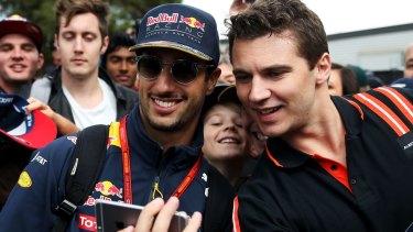 Daniel Ricciardo arrives at the circuit at Albert Park.