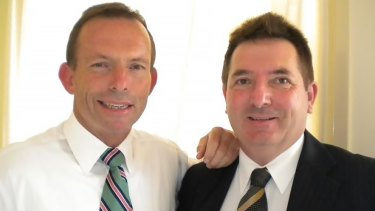 Former prime minister Tony Abbott and former Liberal Party member Marcus Cornish.
