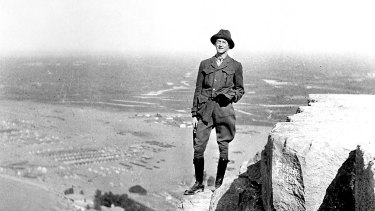C. E. W. Bean on the Pyramid of Cheops, Giza, before the Gallipoli invasion, 1915.