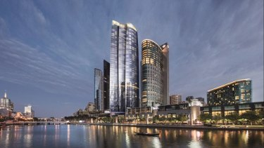 An artist's impression of Crown's 90-storey tower, from the Yarra River.