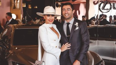 Terry Biviano and Anthony Minichiello in the Lexus Design Pavilion at Derby Day at Flemington.
