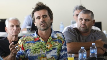 Wayne Webster of Webster Surfboards at the Public Hearing Shark Inquiry at Ballina Surf Club.