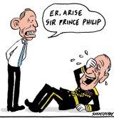 Tony Abbott has awarded Prince Philip a knighthood. Illustration: John Shakespeare