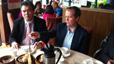Federal Opposition Leader Bill Shorten meets with Chinese community leader Lewis Lee at Haoke Chinese restaurant in Sunnybank Hills.