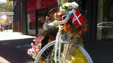 Rebekka Meyer's ghost bike at South Brisbane.
