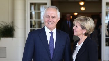 The new PM with Liberal deputy Julie Bishop.