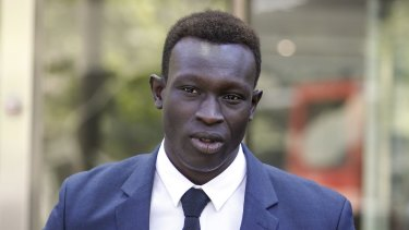 North Melbourne player Majak Daw outside the County Court on Thursday after being found not guilty of rape charges.