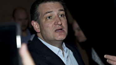 Going for broke in Florida and Ohio: Senator Ted Cruz speaks during a caucus night rally in Las Vegas.