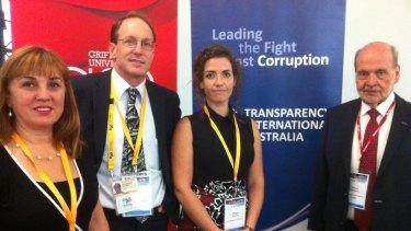 Transparency International representatives Oya Ozarslan (Turkey), Professor AJ Brown (Griffith University), Maggie Murphy (Germany) and Greg Thompson.