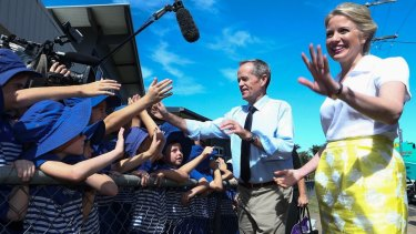 Opposition Leader Bill Shorten and wife Chloe during a visit to Frenchville State School in Rockhampton, Queensland.