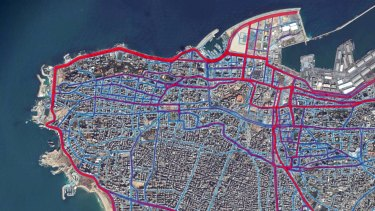 A portion of the Strava Labs heat map from Beirut, made by tracking activities.