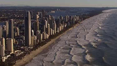 Wild conditions meant beaches remained closed on the Gold Coast.