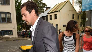 Mitchell Pearce after speaking at a press conference in Surry Hills on Friday with his sister Tatum and mother Terri.
