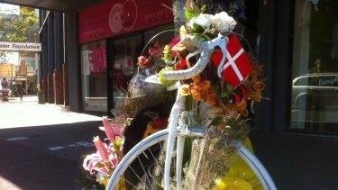 Ghost bike at South Brisbane, a shrine to cyclist Rebekka Meyer.