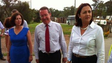 Labor candidates Jennifer Howard (Ipswich) and Jim Madden (Ipswich West) with Annastacia Palaszczuk at Claypave, Bundamba.