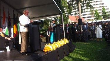 Indian Prime Minister Narendra Modi unveils a statue for Mahatma Gandhi in Brisbane.