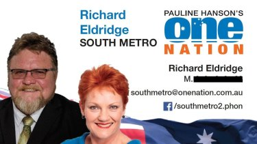 Richard Eldridge is running for the West Australian upper house in the southern metropolitan area of Perth.