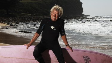 Surfing legend Midget Farrelly: wooden boards have always had a place in the line-up.