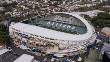 An aerial view of Allianz Stadium in Moore Park.