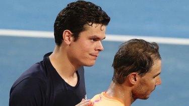 Milos Raonic won against Rafael Nadal in Brisbane.