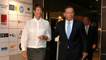 Margie and Tony Abbott arrive at the National Press Club on Monday.