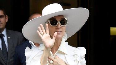 Celine Dion in Paris wearing Ralph & Russo.