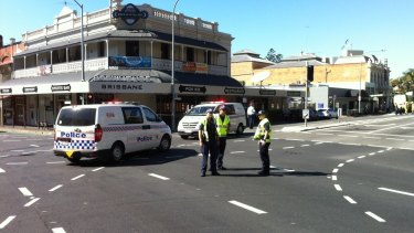 The scene of the fatal crash between Rebekka Meyer and a truck at the corner of Stanley Street and Annerley Road in South Brisbane.