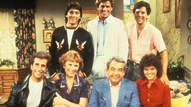 The cast of <i>Happy Days</i> from left to right: The Fonz (Henry Winkler), Chachi (Scott Baio), Marion Cunningham (Marion Ross), Howard Cunningham (Tom Bosley), Joanie (Erin Moran).