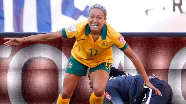 On target: Kyah Simon of Australia reacts after scoring her second goal against Nigeria.