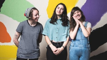 "Camp Cope are Sarah Thompson, Georgia ""Maq"" McDonald and Kelly-Dawn Hellmrich."