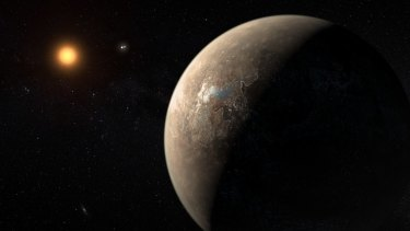 An artist's impression shows the planet Proxima b, which is 1.3 times the mass of Earth.