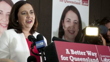 Labor leader Annastacia Palaszczuk thanks supporters on election night.