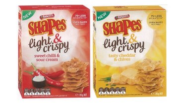 Arnott's Shapes Light & Crispy products with the misleading health claim.