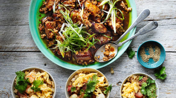 Neil Perry's stir-fried pork and eggplant, and classic fried rice