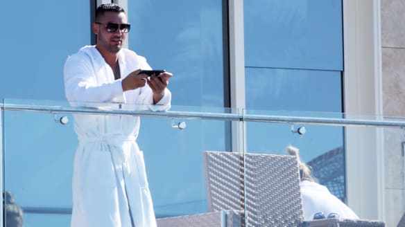 Salim Mehajer enjoying the views from the Vaucluse residence in early January.