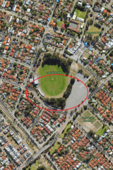 "The Urban Tree Network wants a ""green corridor developed through through Rayment Park (seen at top) south through Lathlain Park, Tom Wright Reserve, Miller's Crossing, John Bissett reserve and East Victoria Park Primary school (bottom) - but the loss of the entire circled portion of trees would block this opportunity, they say."