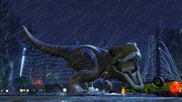 Dinosaurs are not quite as scary in the Lego game versions of the Jurrasic Park films.