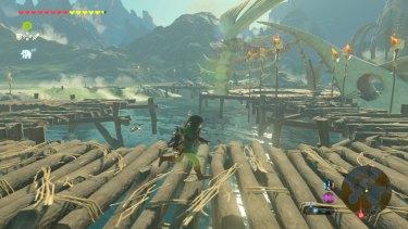 Raiding a moblin camp made of fish bones.