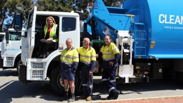 Mayor Marina Vergone with Cleanaway drivers James Dunn, Ralph Baker, and Matthew Halliday.