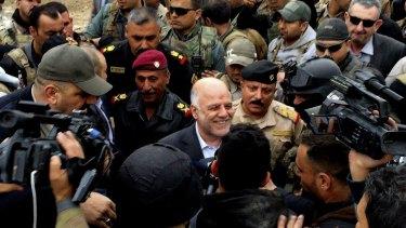 Iraqi Prime Minister Haider al-Abadi touring Ramadi on Tuesday.